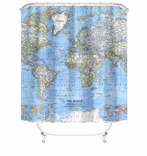 Taysta Wasserdichter Duschvorhang mit Haken, Weltkarte, modernes Design, 183 x 183 cm, dekorativ, kreativ, Heimdekoration, Badezimmer