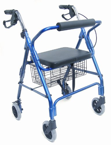Mabis Dmi Healthcare Ultra Lightweight Aluminum Rollator, Adjustable Ergonomic Handles, Folds for Easy Storage/Transport, Royal Blue, One