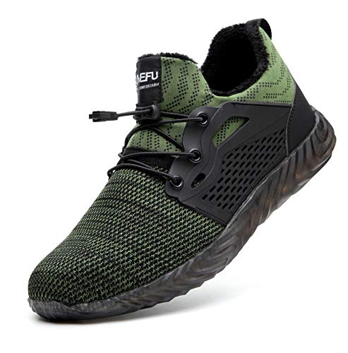 Botas y Zapatos de Seguridad con Puntera de Acero Forradas Impermeables cálido para el Invierno, Bota de protección, Calzado de Seguridad Hombre Mujer, Zapatillas de Industria Verde 37 EU
