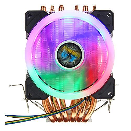 hgbygvuy CPU Cooler 6 HEATPIPE 4-Pin RGB 2X SHALKING Fan para Intel 775/1150/1151/1155/1156 / 1366AMD S
