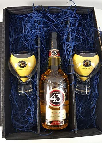 Licor 43 Geschenkbox Set/Geschenkset - Licor 43 Liqueur 07L (31% Vol) + 2x Gläser