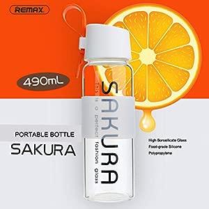 Bazaar REMAX Sakura 490ml Glass Bottle Simple Portable Creative Water Cups Outdoor Bottle