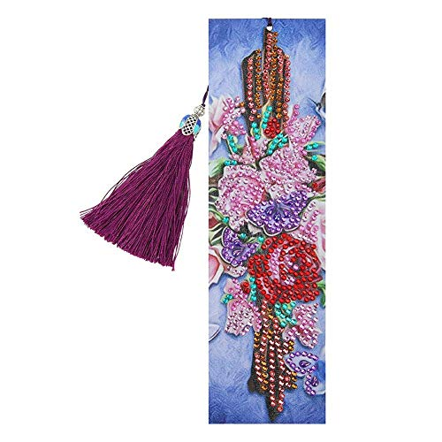 Bookmark for Men, DIY Flower Special Shaped Diamond Painting Leather Tassel Bookmark Gifts, for Valentine's Day, Graduation, Birthday