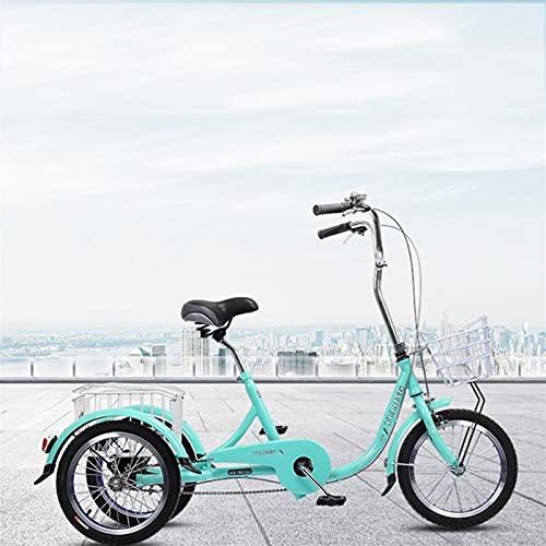 Triciclo para adultos 3 Ruedas Bicicleta Adulto Triciclos, Tres Ruedas Bicicleta Crucero Ciclismo Pedal Triciclo Con Cesta De Compras Bicicletas Trikes Mujeres Hombres Mayores(Size:16 Inch,Color:Azul)