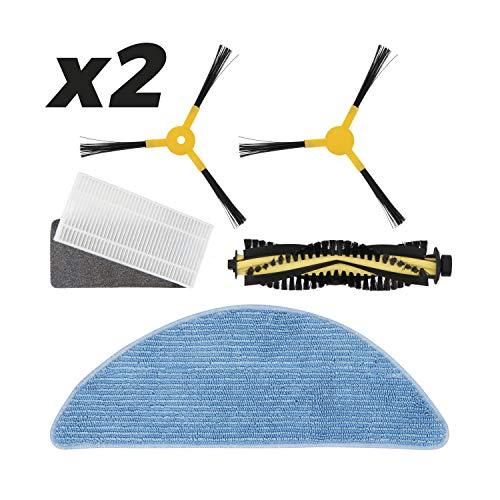 IKOHS Pack Repuestos 2 x (Cepillo Derecho + Cepillo Izquierdo + Rodillo + Filtro HEPA + Mopa) para NETBOT S14 / S15...