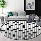 RUGSMAT Word Search Puzzle Machine Washable Round Bath Mat,Classical Non-Slip No-Shedding Kitchen Soft Floor Mat Round-51