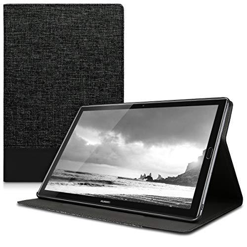 kwmobile Hülle kompatibel mit Huawei MediaPad M5 10 / M5 10 (Pro) - Slim Tablet Cover Hülle Schutzhülle mit Ständer Anthrazit Schwarz