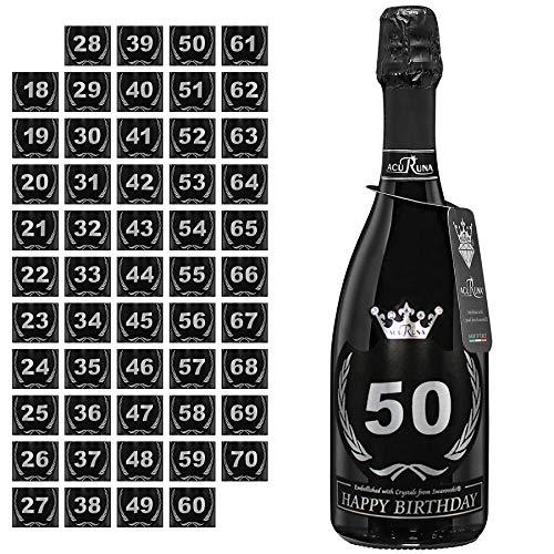 Acuruna Vino Spumante Geburtstag mit Swarovski Kristallen 0,75 l Edles Geburtstags-Geschenk Präsent Damen Herren (50)