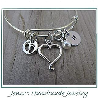 Mother's Bracelet- New Mother Gift, Expectant Mother Gift, Baby Shower Gift- Baby Feet Charm, Heart Charm, Initial, and accent bead of your choice