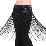 Best Dance, gonna brillante da donna con cintura alla vita ornata con nappe e frange per danza del ventre orientale Black Taglia unica