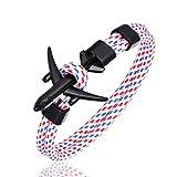 Generic Bracelet en Cuir,Hommes Vintage Bracelet Cuir Noir Rose Bracelet d'avion Ciel Liberté Corde De Survie Boucle Charme Bracelets Cadeau De Noël pour Hommes Femmes