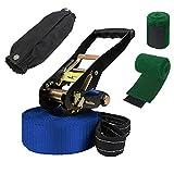 ALPIDEX Slackline 15 m 2t + 2 x Protector de árbol + Protector de trinquete, Color:Azul