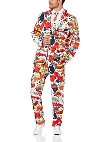 Smiffys, Herren Comic Strip Anzug Kostüm, Jacke, Hose und Krawatte, Mehrfarbig (Red & White) ,Gr.- XL, 43526