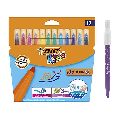 BIC Kids Kid Couleur XL Feutres de Coloriage à Pointe Large, Parfait pour l'école,Facile A Tenir, Couleurs Assorties, Etui Carton de 12