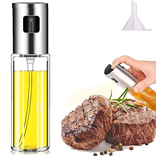 Pulverizador Spray Oliva Aceite, 100ML Recargable Rociando Pulverizador de Botella de Aceite Vidrio de Grado Alimenticio, Rociador de Aceite de Oliva con y 1 Embudo para Cocinar Ensalada BBQ