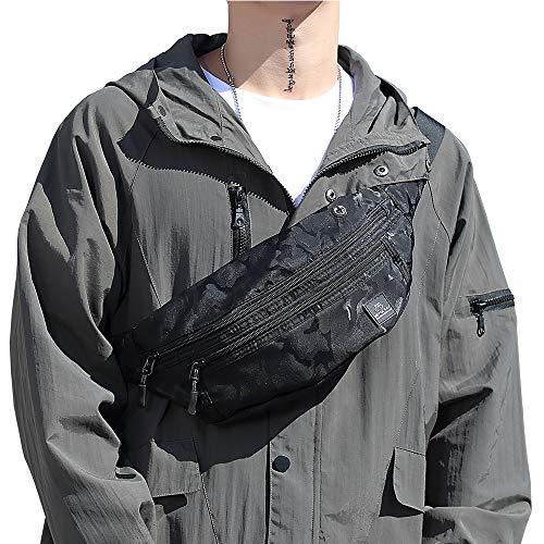 Large Black Waist Bag Fanny Pack for Men Women Belt Bag Pouch Hip Bum Bag Chest Sling Bag with Headphone Jack, Premium Waterproof Lightweight Fanny Pack for Sport Gym Workout Travel Work Commuting