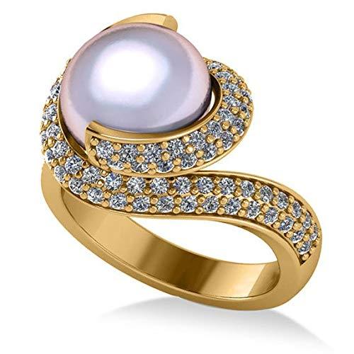 Anillo de compromiso con remolino de perlas y diamantes en oro amarillo de 14 k, 10 mm (0.96ct), anillo de compromiso de oro amarillo, anillo de compromiso con aro, anillo de compromiso