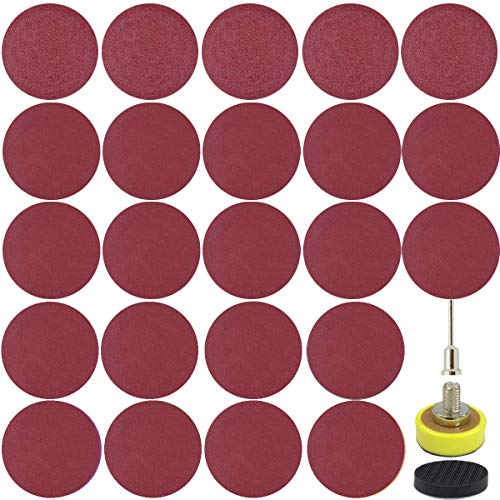 """240 PCS 1 Inch Sanding Disc CARL COOPER Sanding Pads with 1/8"""" Shank, Sticker Backing Pad and Soft Foam Buffering Pad, 60 to 2000 Grits Grinding Abrasive Sandpaper for Wood Metal Mirror Jewelry Car"""