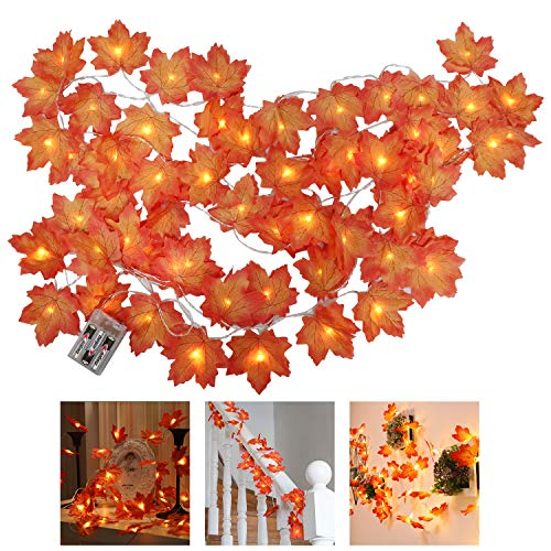 GUIFIER 2 Piece Thanksgiving Lights Fall Maple Leaves String Lights Fall Garland Decorations, Total 20 Ft & 40 LED Maple Leaves Lights for Holiday Autumn Garland Home Indoor Decor