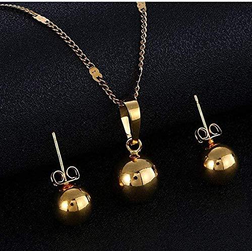 NONGYEYH co.,ltd Collar Perlas Bola Collares Colgantes Pendientes Mujeres Hombres Esfera Redonda Collar de Bola Simple Pendientes Conjunto de Joyas Oro