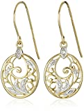 Amazon Collection 18k Yellow Gold Plated Sterling Silver Diamond Accent Filigree Disc Dangle Earrings
