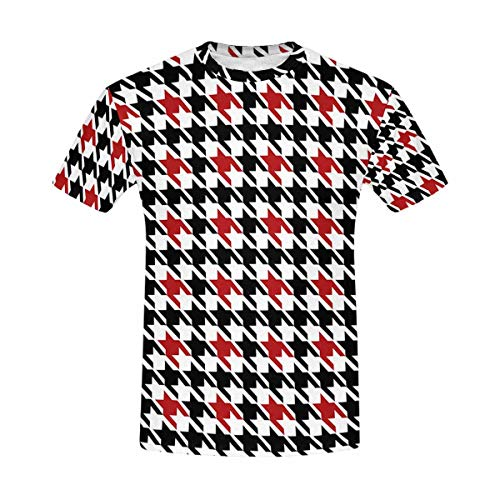 INTERESTPRINT Abstract Black and Red Houndstooth Classic Short-Sleeve All Over Print Men's T-Shirt
