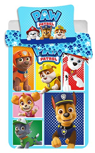 Duvet Cover Paw Patrol Blue All Dogs 100x135+40x60 cm