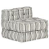 Tidyard Puf Modular Sofás de Salón Sofá Individual Convertible de Tela de Rayas Grises 57 x 67 x 51 cm