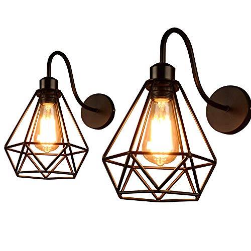 Lámpara de Pared de Hierro Estilo Vintage Retro Edison, Jaula de Metal Negro Industrial E27 Apliques de Pared Accesorio de Luz,Para Restaurante cafetería loftSala de Estar de Cocina Iluminació