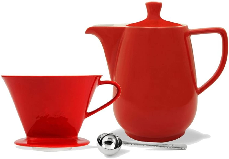 Friesland Melitta Kaffeefilter 1x4 1 Loch Porzellan rot + Kaffeekanne 0,9L rot + Kaffeemaßlöffel B01IY1AWOA
