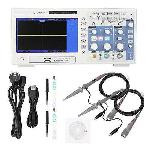 Osciloscopio digital portátil, pantalla a color de 7 pulgadas, osciloscopio de almacenamiento digital de 2 canales, osciloscopio multifunción de laboratorio, multímetro(ENCHUFE DE LA UE)