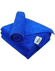 SOFTSPUN Microfiber Cloth - 4 pcs - 40x40 cms - 340 GSM - Thick Lint & Streak-Free Multipurpose Cloths - Automotive Microfibre Towels for Car Bike Cleaning Polishing Washing & Detailing