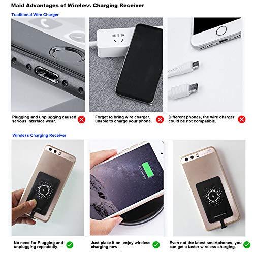 MyMax Superschneller 1300mA Typ C Qi kabelloser Ladeempfänger und Adapter für Google Pixel, Samsung, Huawei, LG, Sony, Motorola, Nokia, HTC und andere USB-C Android Handys (Modell: M1300)