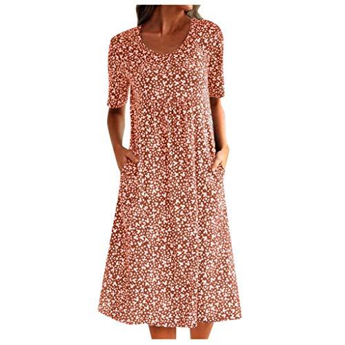 URIBAKY Frauen Sommer Boho Blumendruck Kleid Damen Schöne Elegant Rundhalsausschnitt Kurzarm Lose Pocket Taschenkleid Große Größen,Swing Kleid Knielang