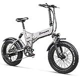 Shengmilo MX21 Folding Electric Bike 48V Snow Bike Beach Bike Men and Women Adult City Electric Bike 500W, 20 Inches, 12.8A Large Capacity Lithium Battery
