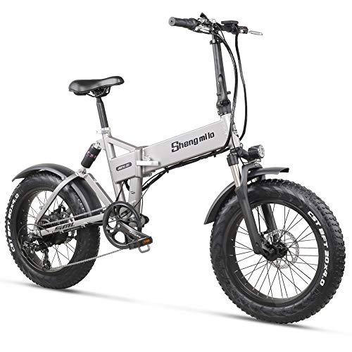 Shengmilo MX21 Bici elettrica Bicicletta e Bike Pieghevole Mountain Bike Grasso Pneumatico Neve per Uomo Donna Adulti e-Bike da Città 20 Pollici 500W 48V12.8A Batteria di Grande capacità 7 velocità