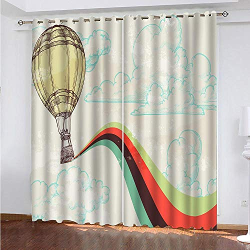 KAOLWY Yellow Hot Air Balloon Curtains, 280 x 250 cm, Thermal Blackout Insulation with Eyelets for Home Modern Decorative Window Balcony Home 2 Panels
