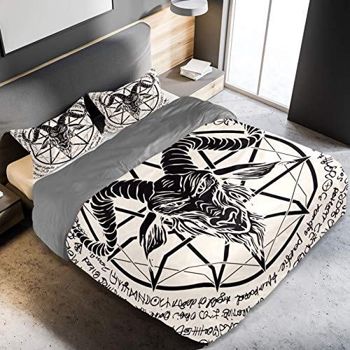 Parure de lit 3 pièces en microfibre avec motif tête de chèvre et pentagramme - Légère et douce - Décoration d'intérieur pour adolescents, garçons et filles