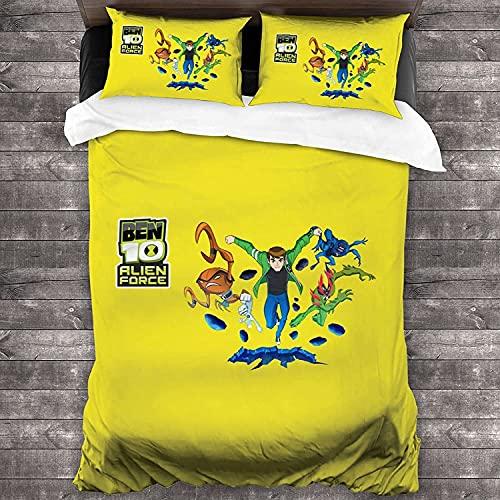 SL-YBB Ben10 Juego de cama Ben Tennyson Funda nórdica de microfibra Quilt Set Suave y Transpirable para Dormitorio 2 Fundas de Almohada (Ben5, 135 * 200 cm + 80 * 80 cm*2)