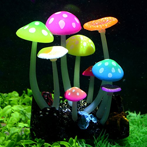 Uniclife Glowing Effect Künstlicher Pilz Aquarienpflanzen Dekor Ornament Dekoration für Aquarium Landschaft