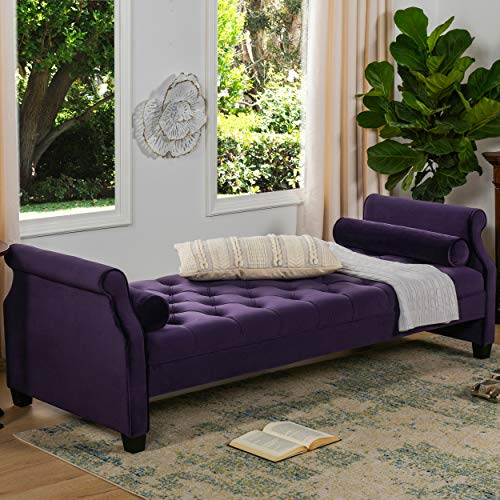 Jennifer Taylor Home, Sofa Bed, Purple, Velvet, Hand Tufted, Hand Painted and Hand Rub Finished Wooden Legs