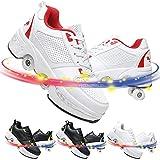 Aire Libre Y Deporte Gimnasia Zapatillas 2 En 1 Patines De Ruedas Ninas Botas De Zapatos Ruedas Deformación Zapatos,White Red,38