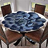 "Elastic Edged Polyester Fitted Table Cover,Echeveria Succulent Blossom Illustration Realistic Design Lithops Crassula Petals Decorative,Fits up 40""-44"" Diameter Tables,The Ultimate Protection for Your"