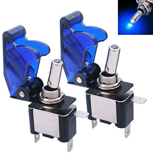mxuteuk 2 piezas 12V 20Aazul LED luz interruptor basculante de servicio pesado con cubierta impermeable azul SPST ON/OFF 3 pines para coche camión barco ASW-07D-BU-BUMZ