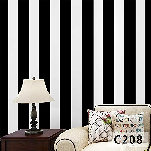 Tapete selbstklebend schwarz-weiß, kariert gestreift Schlafzimmer Wohnzimmer Hintergrundtapete schwarz-weiß Streifen - C208 1m