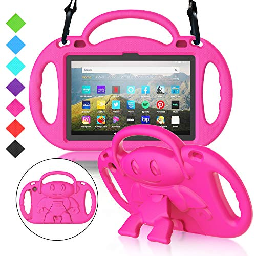 MENZO All-New Fire HD 8 2020 Kids Case, Fire HD 8 Plus Case, Lightweight Shockproof Shoulder Strap Handle Stand Protective Case for Fire HD 8/8 Plus Tablet (10th Generation, 2020 Release), Rose