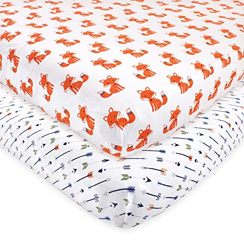Hudson Baby Unisex Baby Cotton Fitted Crib Sheet, Foxes, One Size