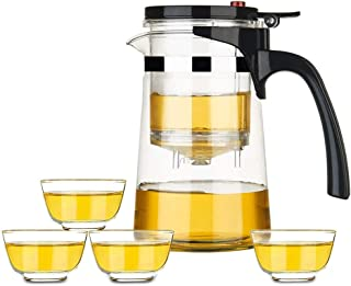Teapots Glass Tea Set Elegant Cup Household Teapot Thickening Heat-resistant Teapot Comes With Filter Office Tea Ceremony Cup 750ml Tea pot (Style : A)