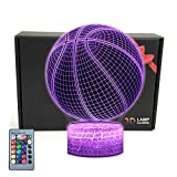 TriPro Basketball Shape 3D Illusion 16 Colors LED Desk Lamp Night Light, Smart Touch Button & Remote Control, Basketball Fans Gift for Boys, Kids, Teens, Women, Men