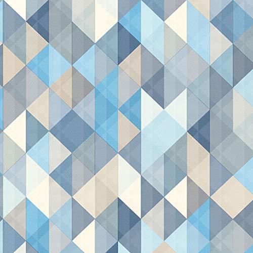 Vliestapete Vintage-Tapete 367863 36786-3 A.S. Création Scandinavian 2   Blau Braun Grau   Muster (21 x 29,7 cm)